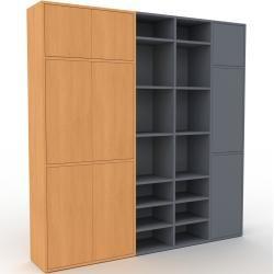 Photo of Anthrazit-Schrankwand – Individuelle Designer-Regalwand: Buchentüren – Hochwertige Materialien – 193