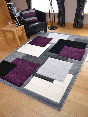 Lt Silver Grey Purple Floor Mat Rugs