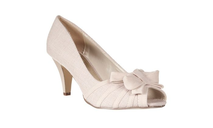 Riverberry Women's 'Zip' Bow-detail Peep Toe Pumps, Taupe