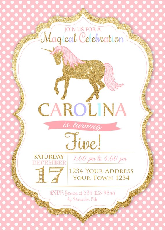 unicorn birthday invitation rainbow unicorn party invitation pink
