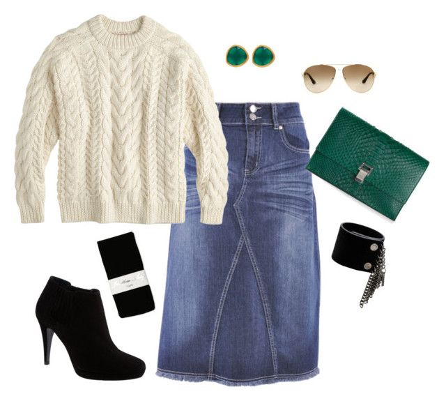 """""""Denim Skirt and Sweater for Winter"""" by whitedoveystyle ❤ liked on Polyvore featuring Style J, Jonathan Aston, J.Crew, Proenza Schouler, Prada, Karen Millen, Diesel and Monica Vinader"""