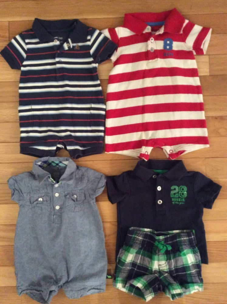 c2bd2515302 Baby Boy Newborn 0 3 3 MO Outfits Romper Shorts Shirt Summer Clothes Lot