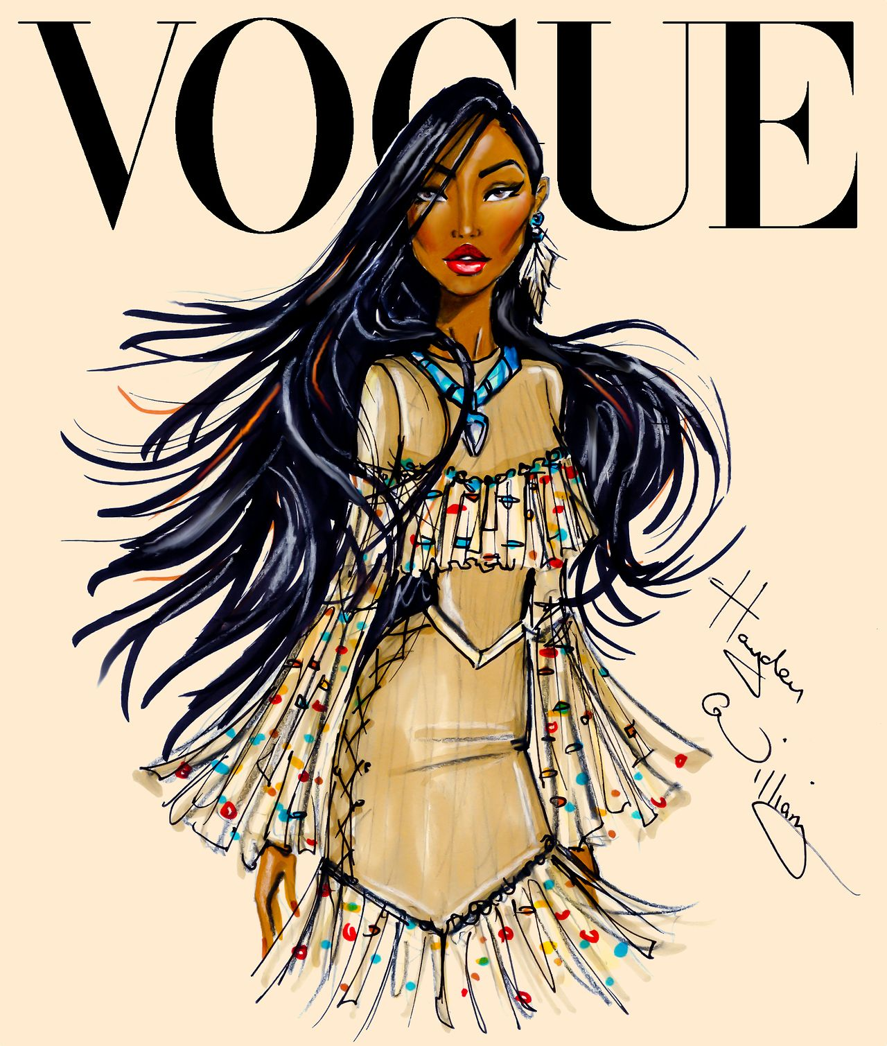 Hayden Williams Fashion Illustrations | Disney Divas for Vogue by Hayden Williams: Pocahontas