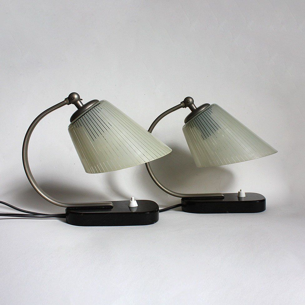 1930s art deco bedside table lamps marble glass by