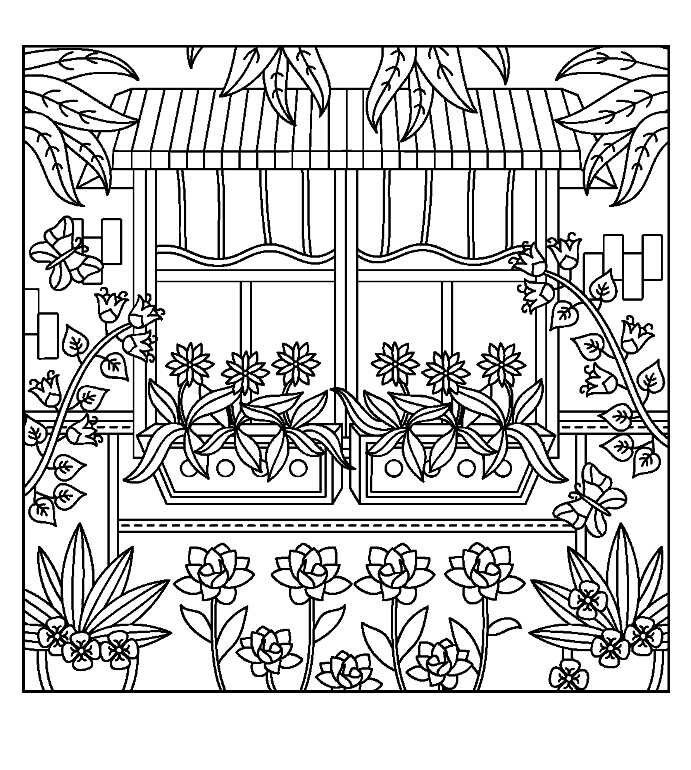 Window box coloring page Cute coloring pages, Mandala