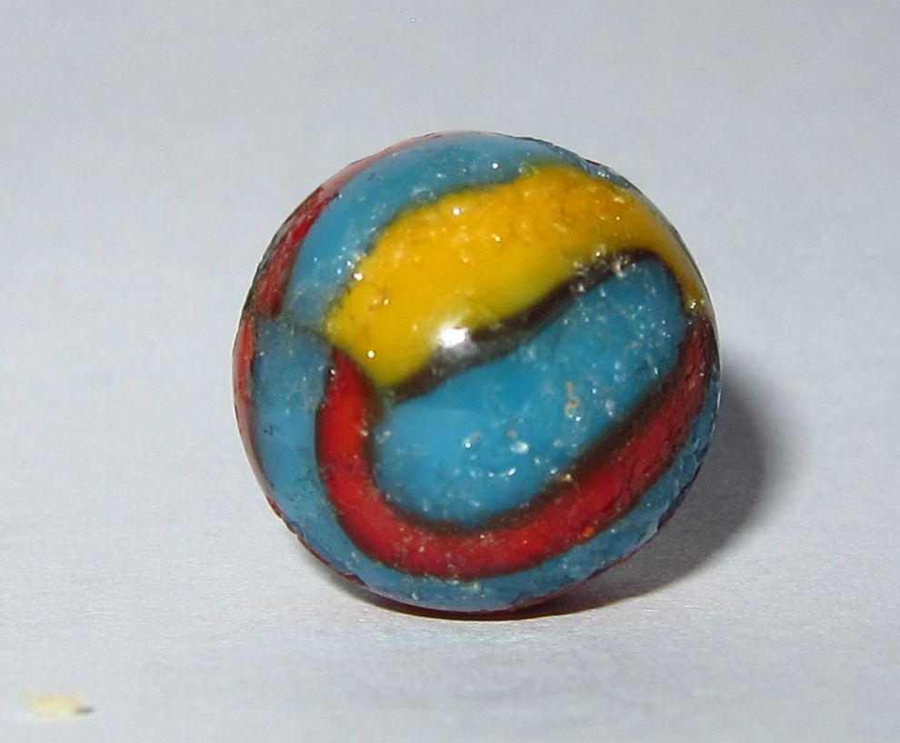 Vintage Glass Superman Marble Blue Red Yellow Swirls 19 32 Inch Red Yellow Swirls Glass