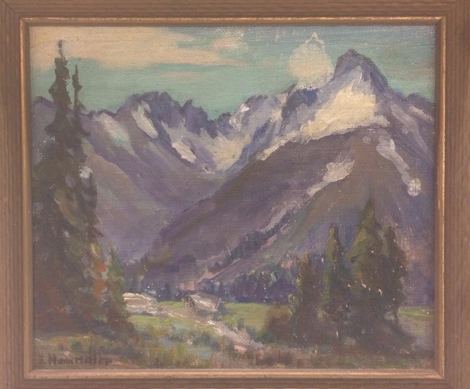 Small Vintage Oil Painting On Masonite By Listed Artist Evylena Nunn Miller B 1888 D 1966 Signed Lower Left E N Painting Mountain Landscape Painting Art