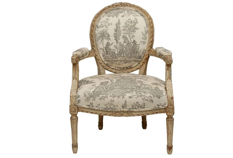 Louis XVI Style Painted Fauteuil Chair - Louis XVI Style Painted Fauteuil Chair Painted Furniture
