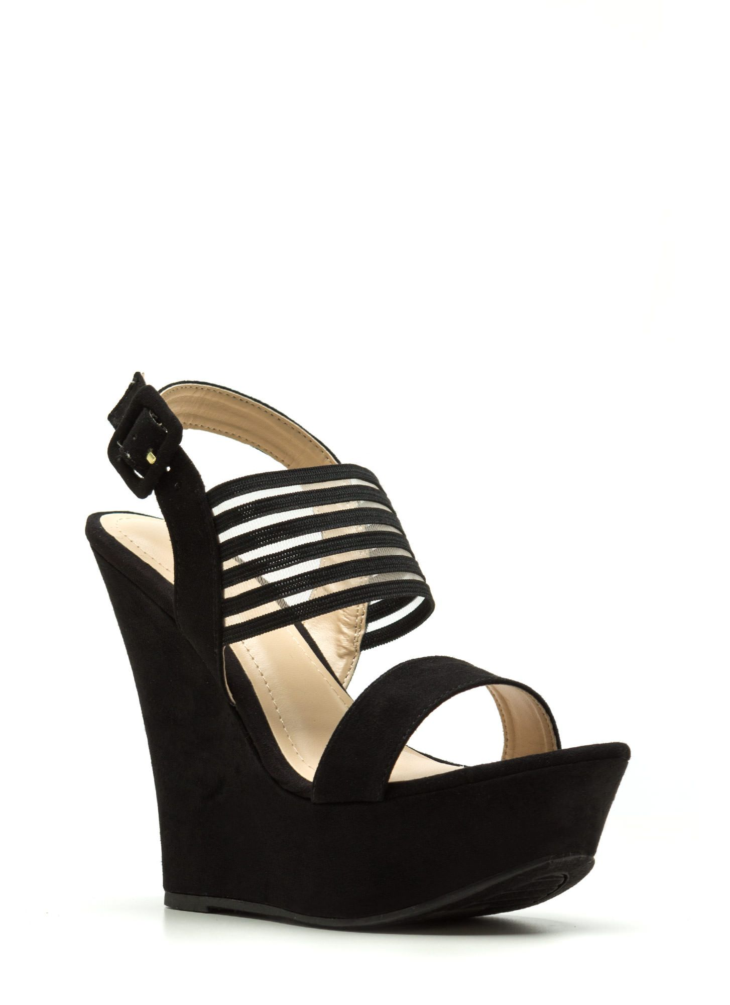 Step Out Faux Suede Platform Wedges