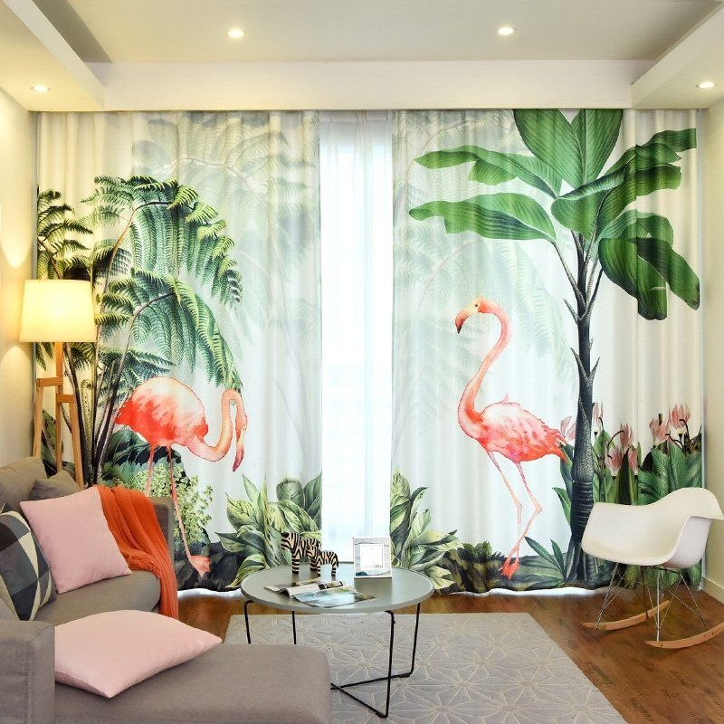 Palm Tree And Flamingo Vintage Lodge Natural Living Room Bedroom Curtain With Images Natural Living Room Curtains Bedroom Living Room Bedroom #palm #tree #decor #for #living #room