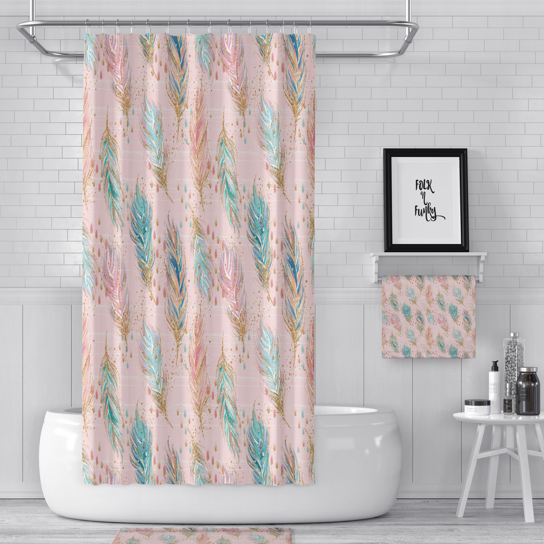 Boho Shower Curtain Floating Feathers Bath Towels Mat