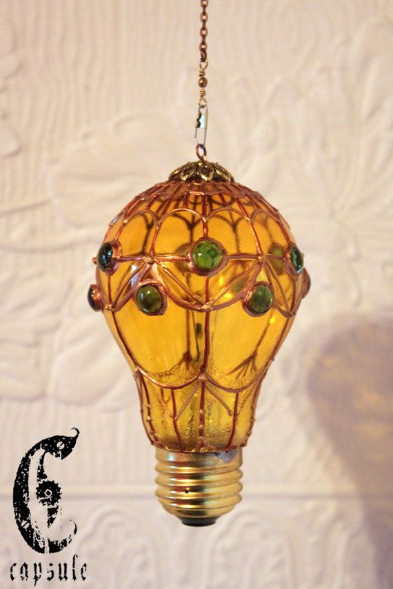 Decorative Ornament Yellow Stained Glass Light Bulb Hot Air Balloon With Blue Beads Holiday Christma Light Bulb Crafts Stained Glass Light Diy Hot Air Balloons