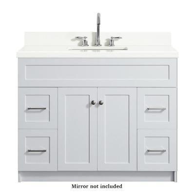 Ariel Hamlet 43 In Bath Vanity In White With Quartz Vanity Top In