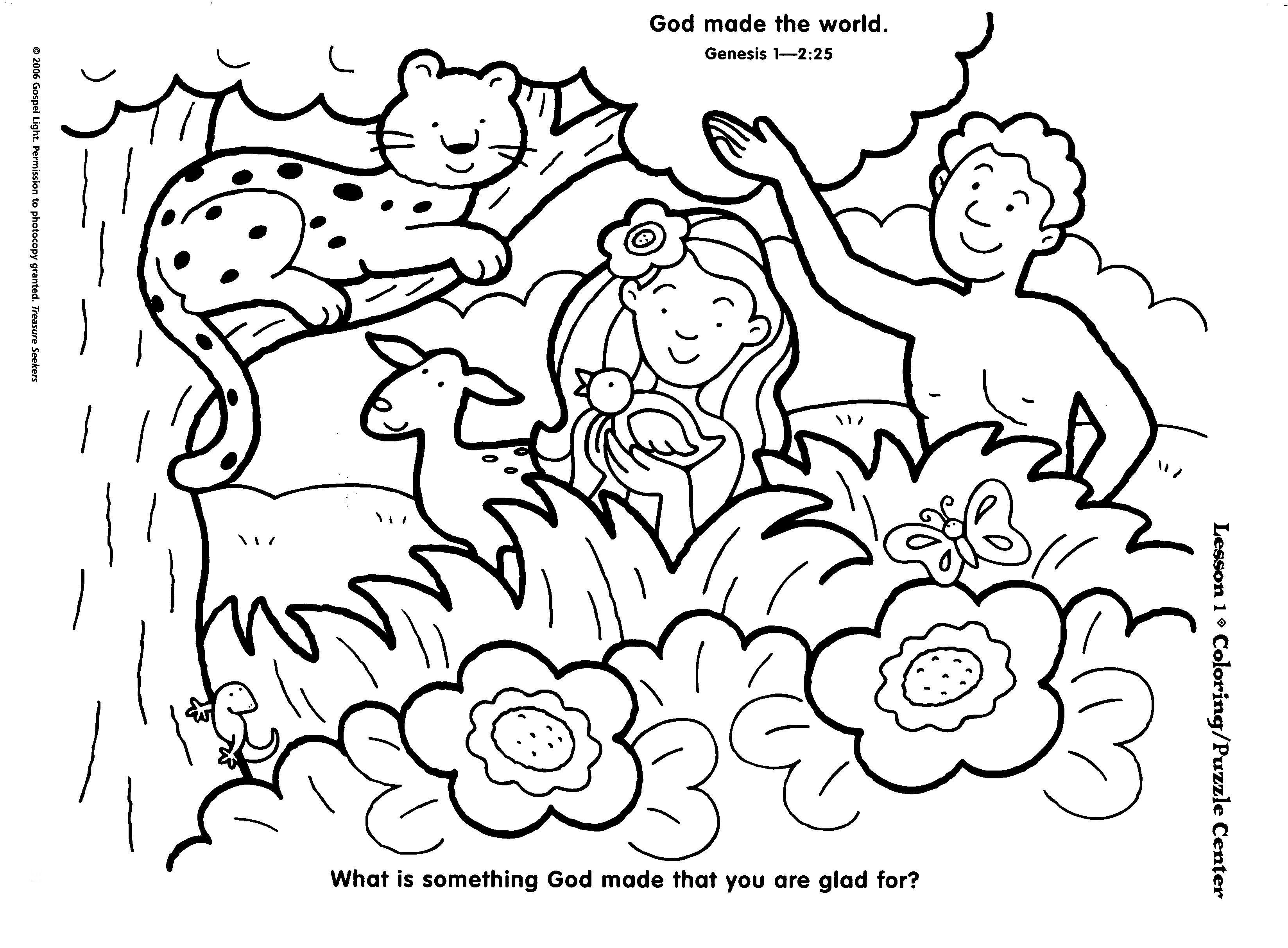 Preschool Creation Coloring Page Creation Coloring Pages Bible