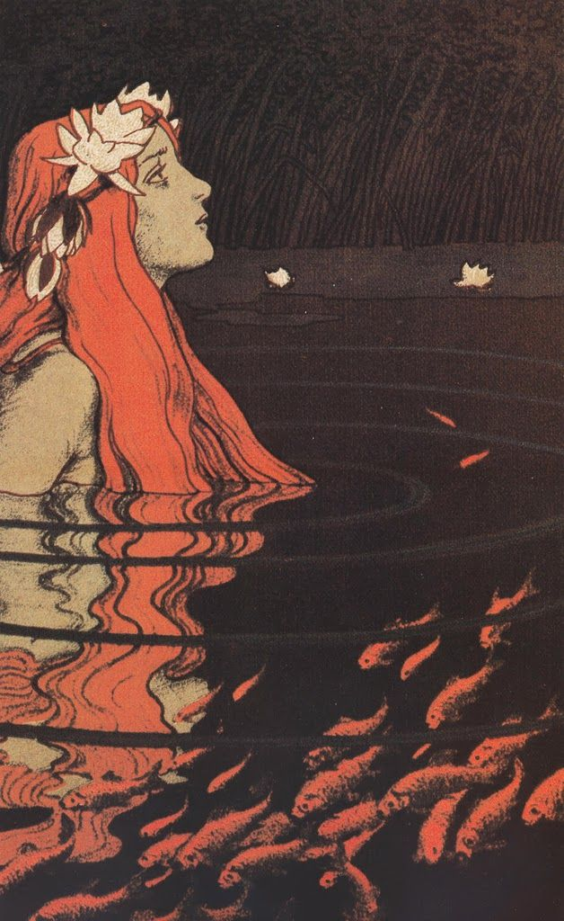Die Nixe im Goldfischteich / The water nymph in the goldfish pond' by  Franz Hein (1863 - 1927)