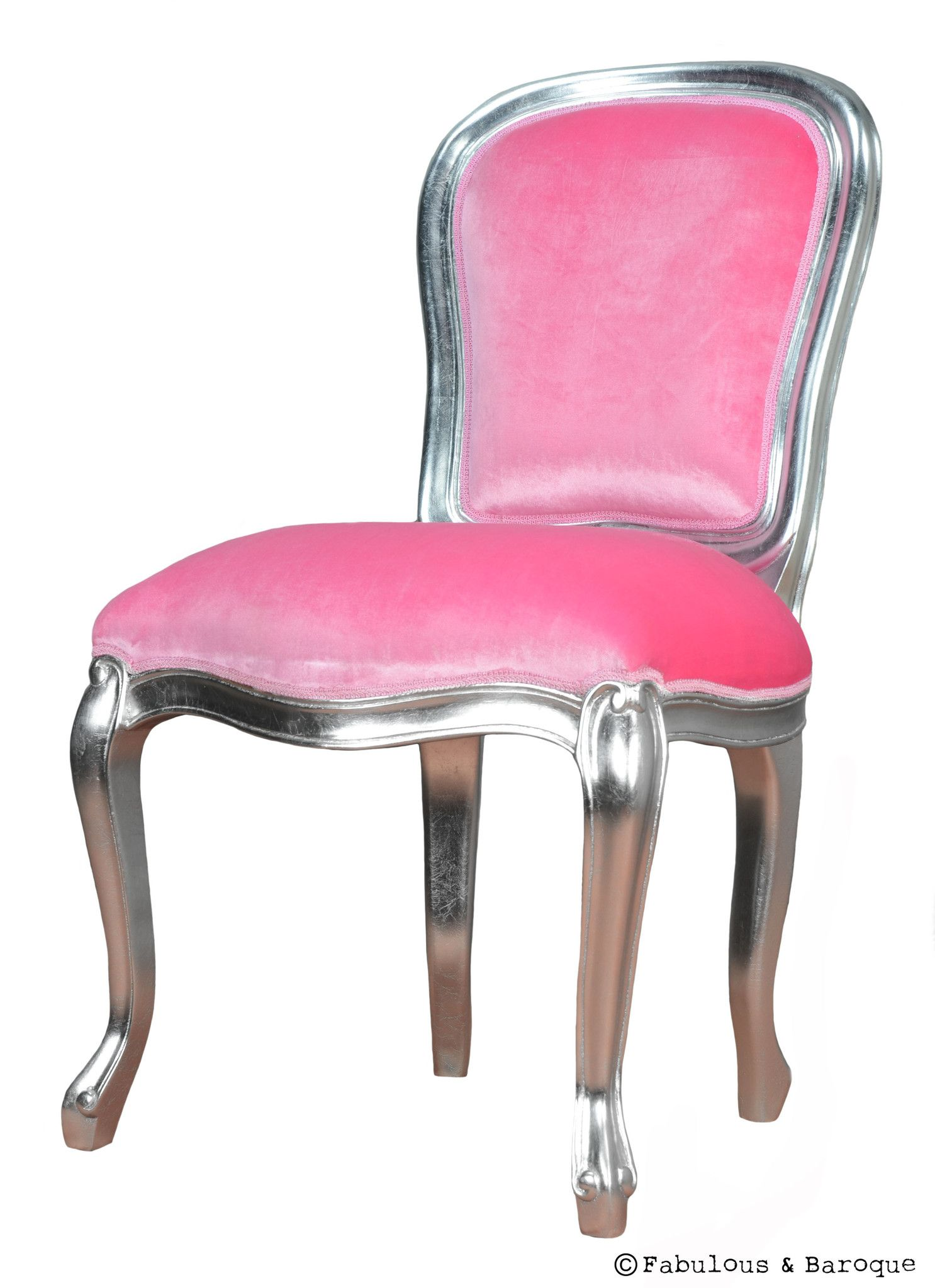 Fabulous French Side Chair   Antiqued Silver U0026 Pink  Www.fabulousandbaroque.com