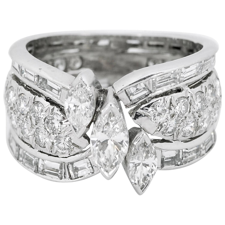1980s Diamond Platinum Ring Diamond
