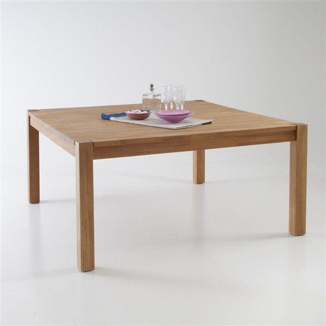table carrée, chêne massif, 8 couverts, adelita la redoute