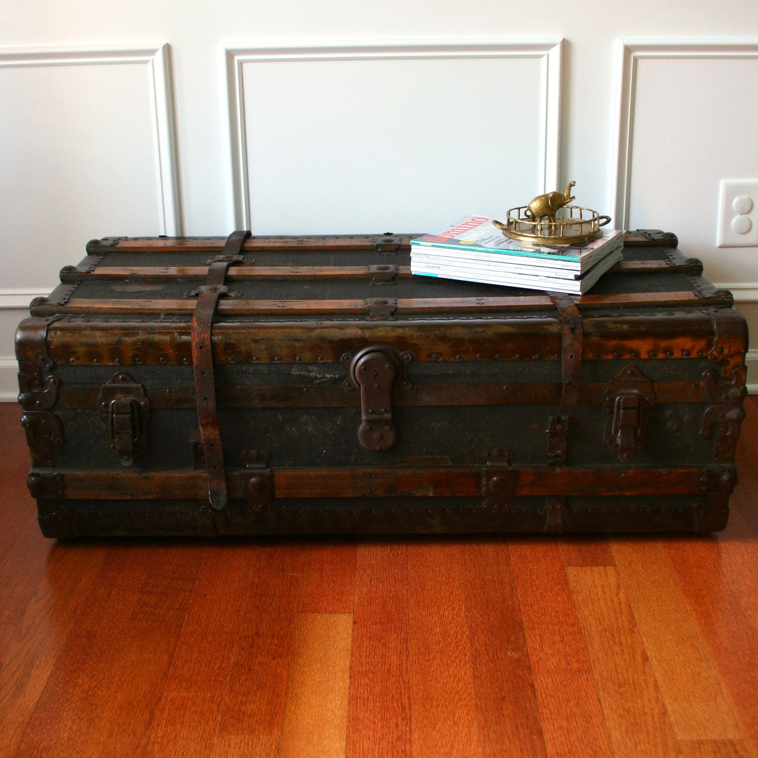 Antique Steamer Trunk Coffee Table Flat Top Low Profile Canvas
