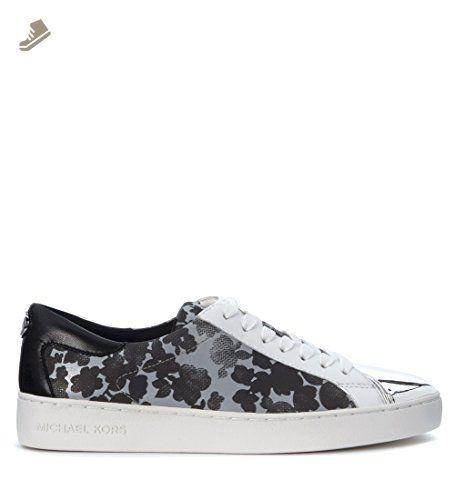 Michael Michael Kors Women's Sneaker Michael Kors Frankie In Raso Grigio E Nero Con Stampa A Fiori 37(IT)-7(US) Black - Michael kors sneakers for women (*Amazon Partner-Link)