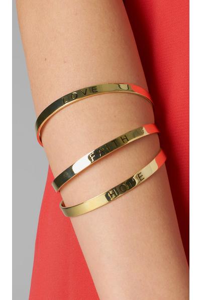 Gold Message Bangle Bracelet Set