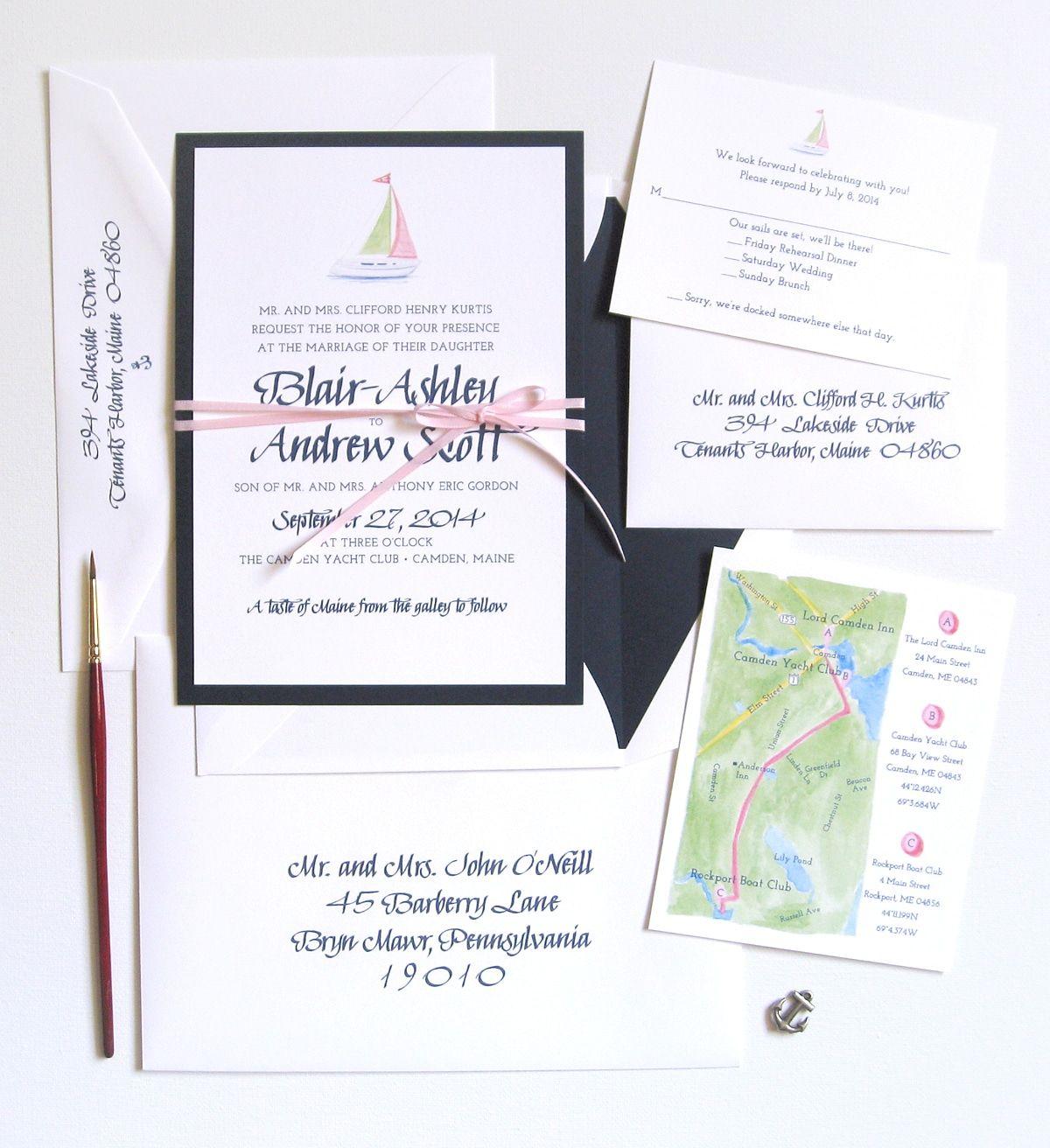 27 Sea-worthy Nautical Wedding Invitations. Watercolor sailboat ...