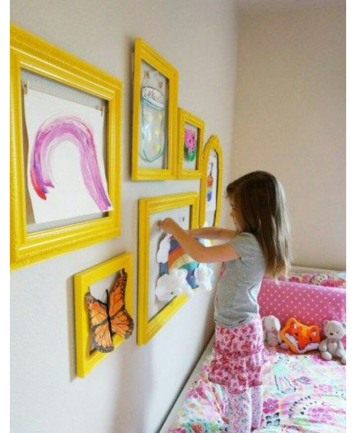 empty photo frames with cloth pins for showing off kids artwork ...