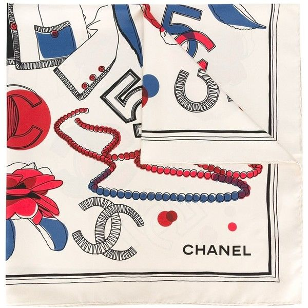 1274bc54887a Chanel Vintage icon print scarf (19.295 RUB) ❤ liked on Polyvore featuring  accessories, scarves, green, chanel, print scarves, patterned scarves, ...