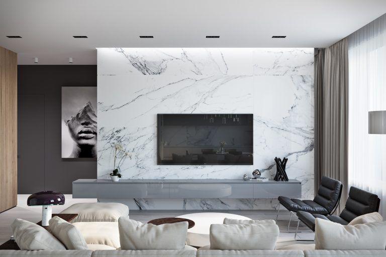Movel De Tv Com Marmore Branco Decoracao Sala De Tv Decoracao