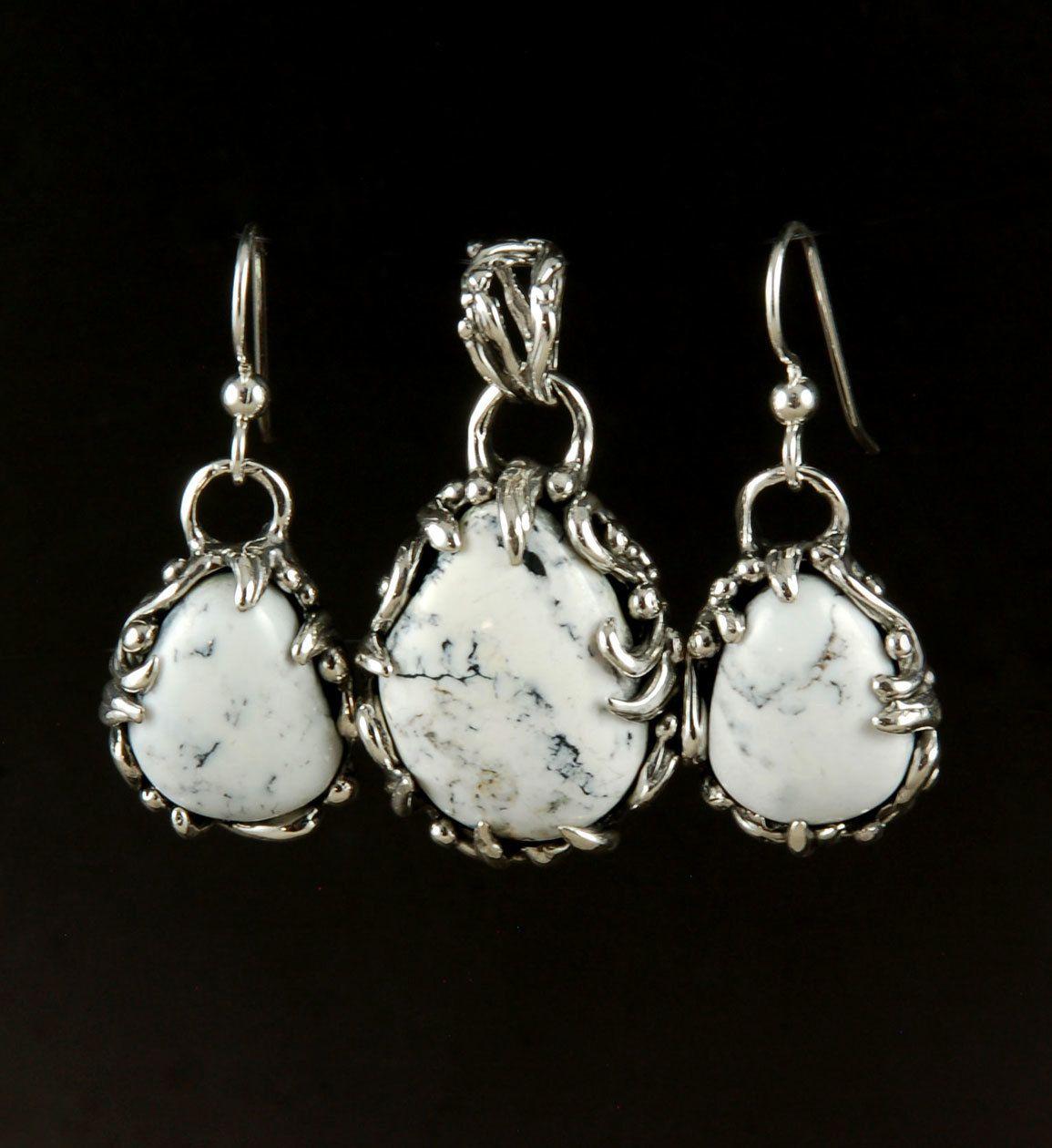 Organic white buffalo pendant and earrings set by nattarika hartman