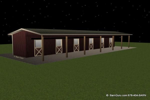 Shed row 6 stall horse barn design floor plan cavalos for 6 stall horse barn plans