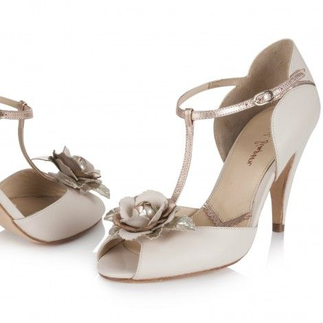 Gabriella By Rachel Simpson Blush Ivory Leather T Bar Vintage Designer Wedding Or Occasion Shoes