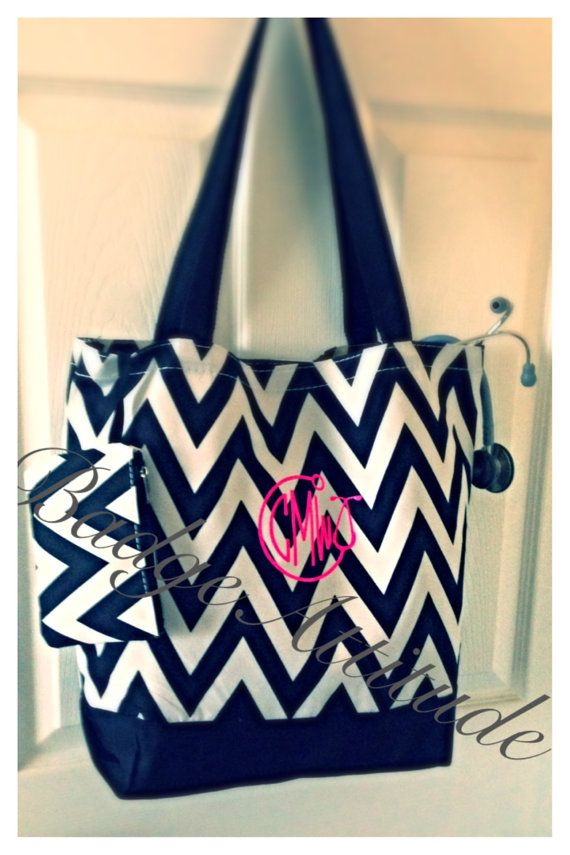 Personalized Monogrammed Chevron Tote Bag With By Badgeatude 19 00