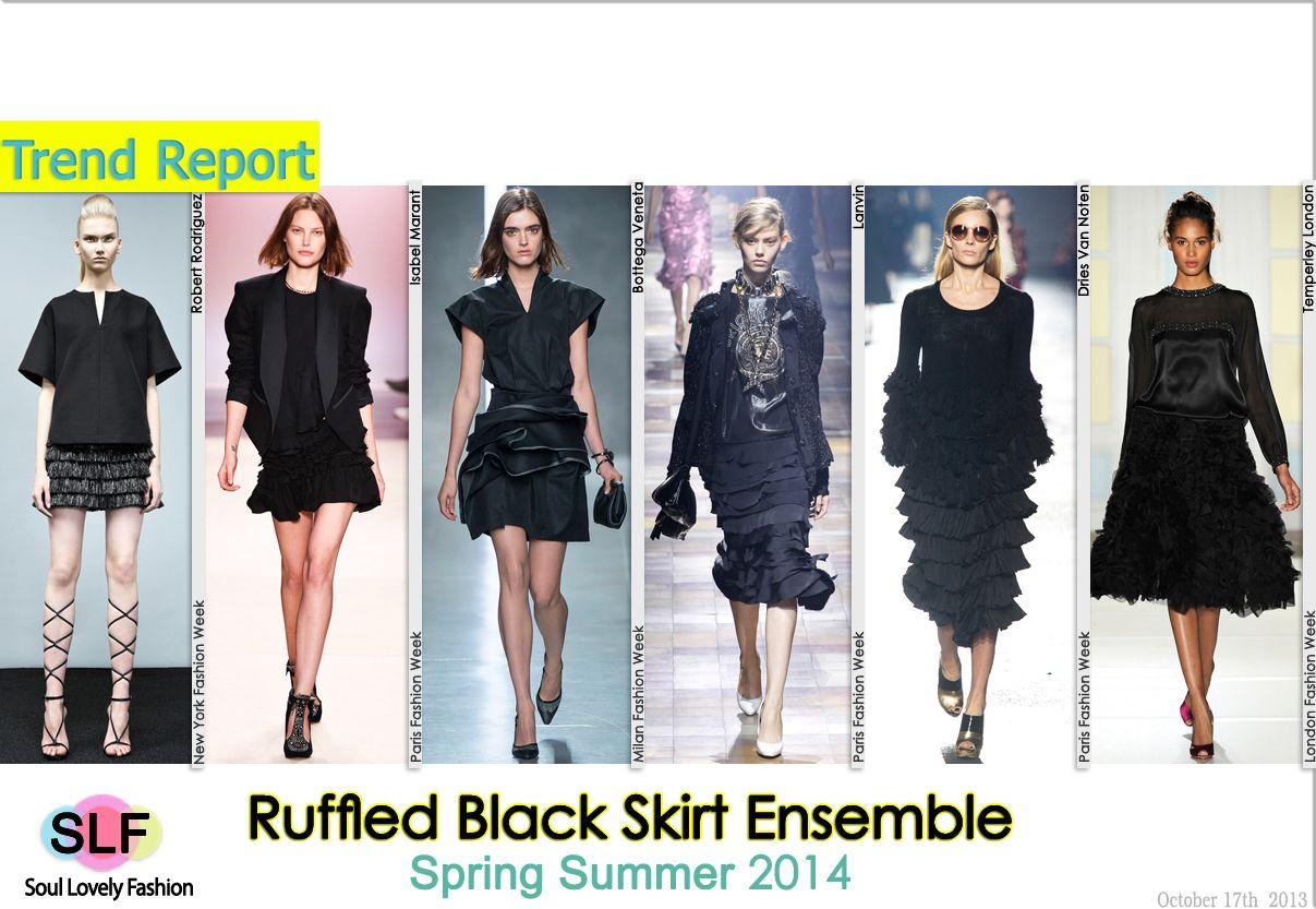 Ruffled Black #Skirt Ensemble #FashionTrend for Spring Summer 2014 #fashiontrends2014 #spring2014 #trends #ruffles