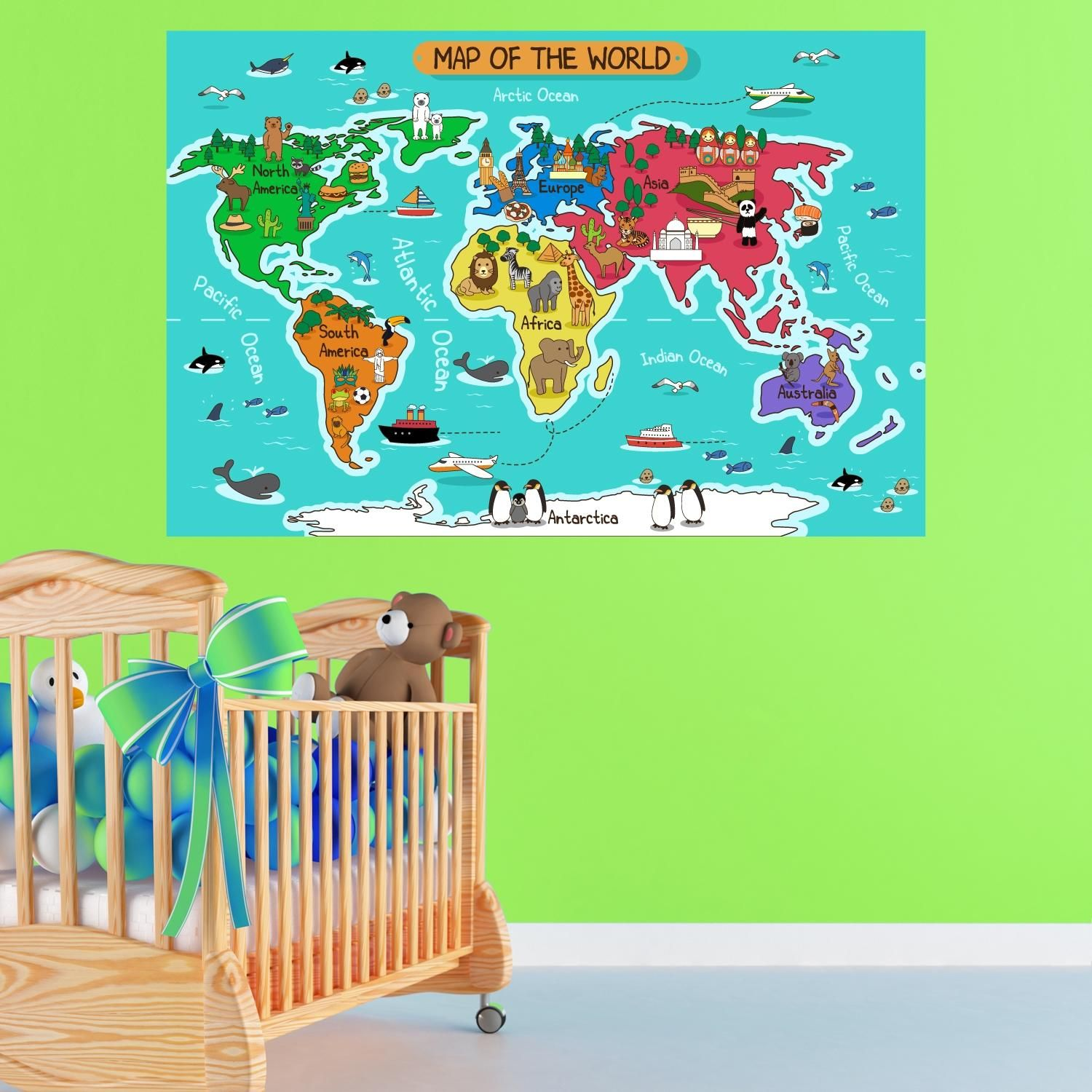 Cartoon map of the world per cameretta cartina wall - Adesivi per muro cameretta ...
