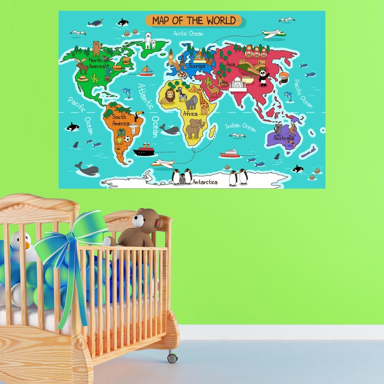 Adesivi da parete cartoon map of the world per cameretta cartina wall sticker adesivo da muro - Adesivi per muro cameretta ...