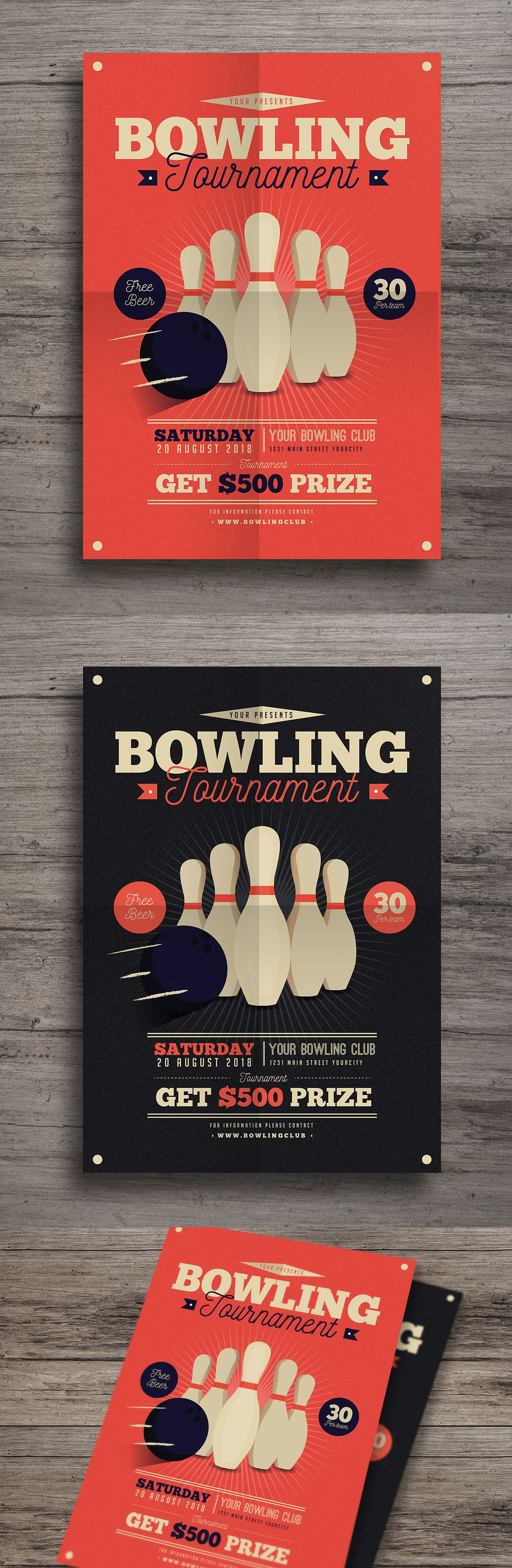 Vintage Bowling Tournament Flyer Template Ai Psd  Flyer Design
