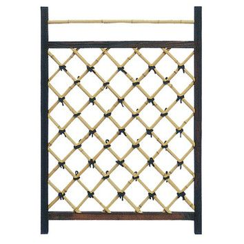 Oriental Furniture Japanese Garden Style Wood and Bamboo Fence Door