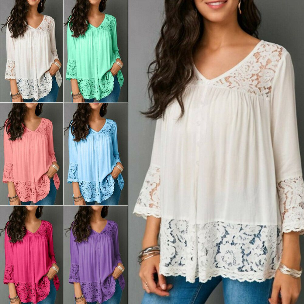Womens V Neck Floral Tee T-shirts Short Sleeve Blouse Loose Tunic Tops Plus Size