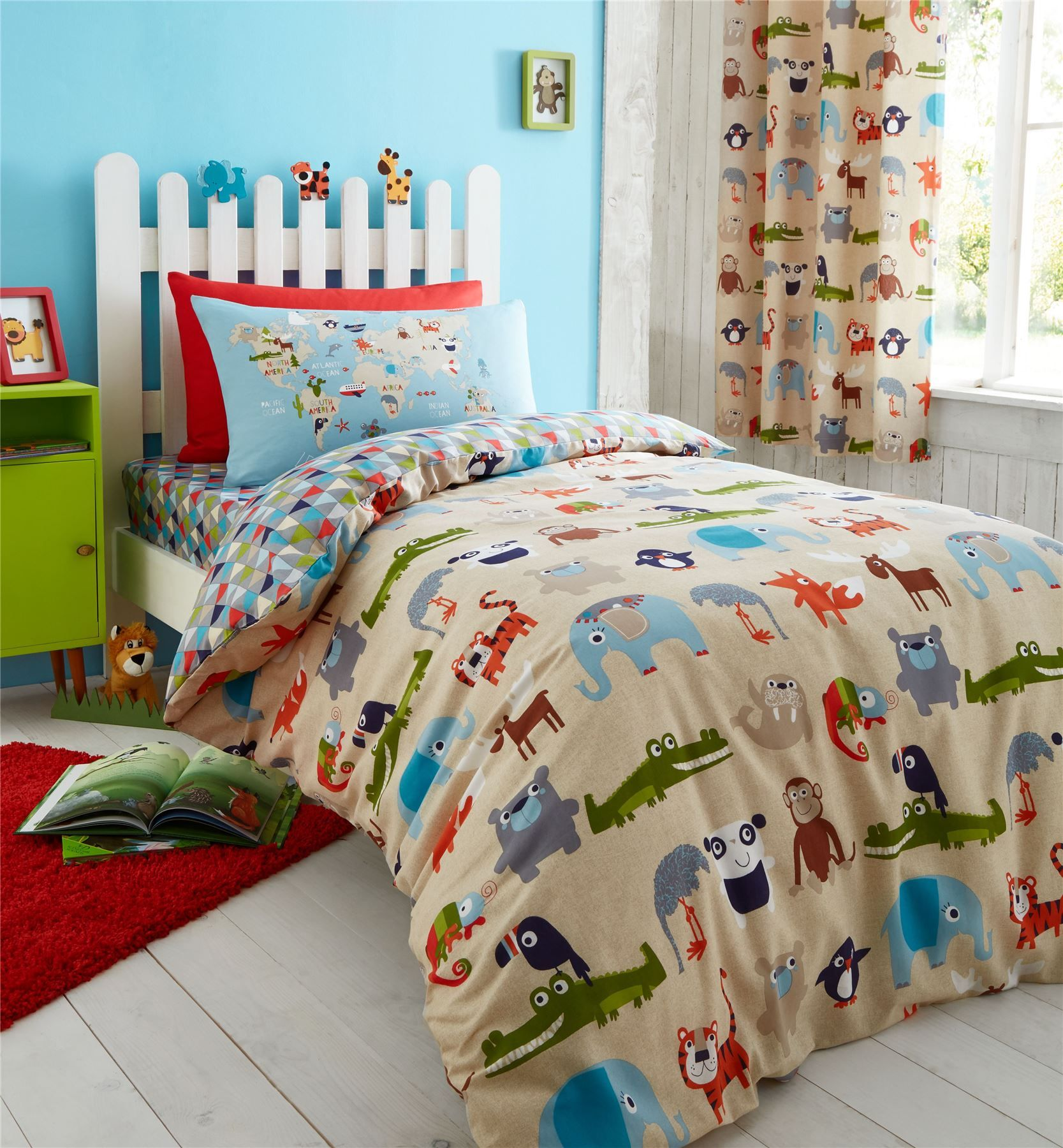 Zoo Safari Animals Kids Bedding Twin Or Full Duvet Cover X2f