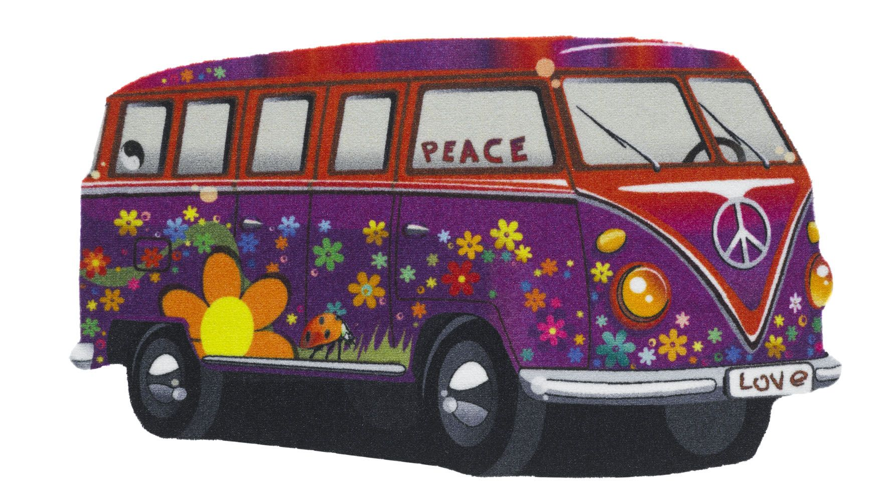Campervan in purple  Polyamid chromojet 3D printed shaped rug with non-slip backing - fantastic in a childs bedroom/playroom   Size 40x70cm