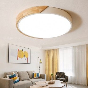 Modern Minimalist Led Drum Shaped Wood Metal Acrylic Flush Mount Ceiling Light Ceiling Lights Living Room Bedroom Ceiling Light Living Room Ceiling