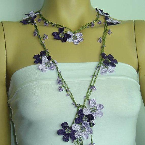Lavender Purple Crochet oya lace with lavender beads violet