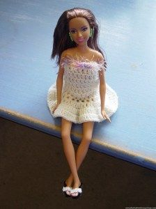 simple pull on white frock for Barbie with fluffy edge