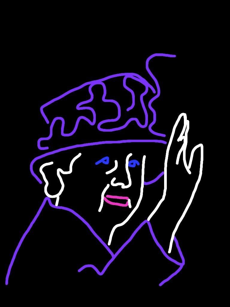 """Danny Mooney 'Proposal for a neon sculpture of Queen Elizabeth II - Hat"""" iPad drawing"""