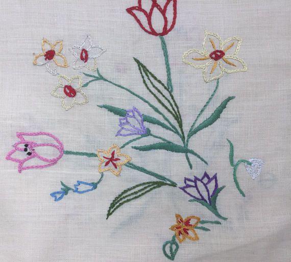 vintage embroidered floral linen tablecloth