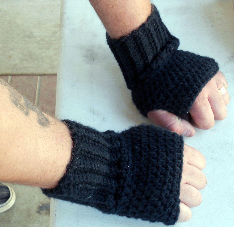 Mens black fingerless gloves, wrist warmers, mittens , hand warmers ...