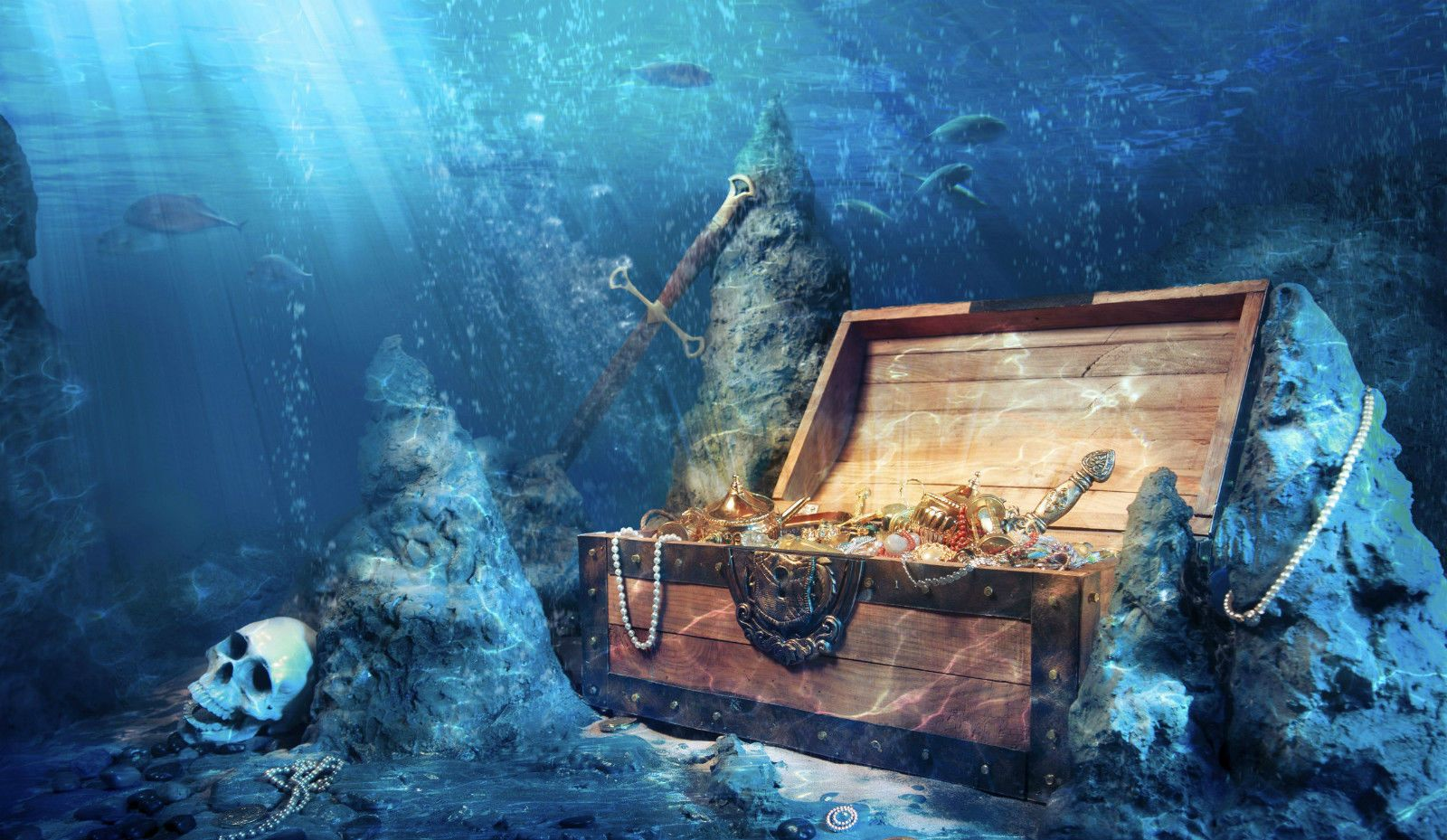 Framed print pirate treasure under the sea picture
