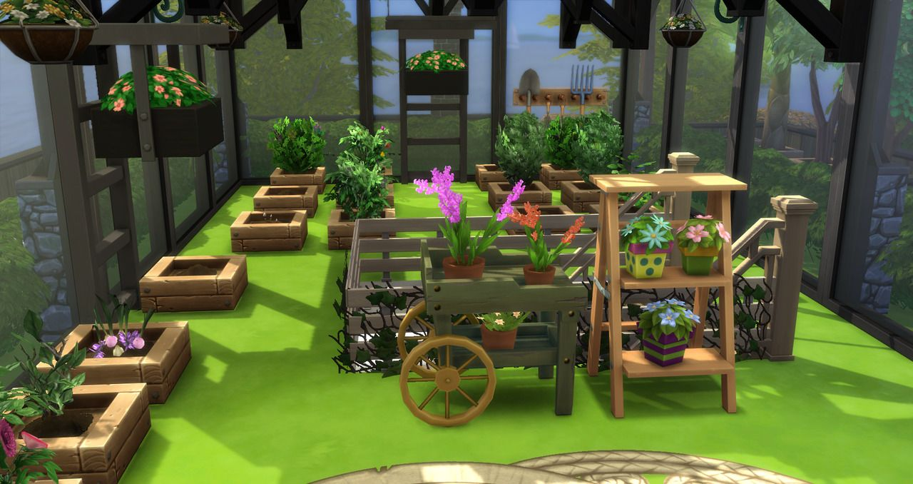Kravedd Sims 4 Cc Vintage Industrial House With Greenhouse No