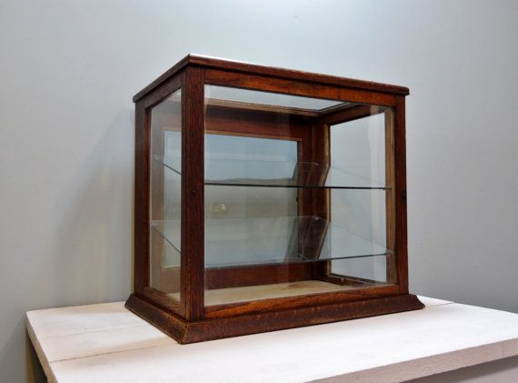 Antique Wood General Gl Display Case Country